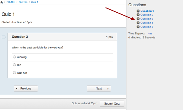 Navigate Questions in Sidebar