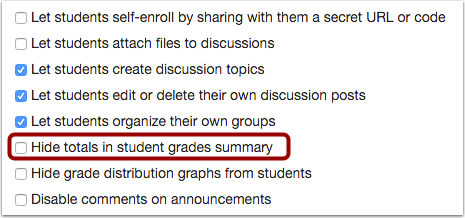 Check Hide Totals in Student Grades Summary