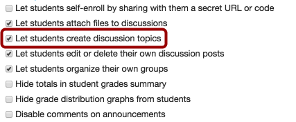 Allow Students to Create Discussion Topics
