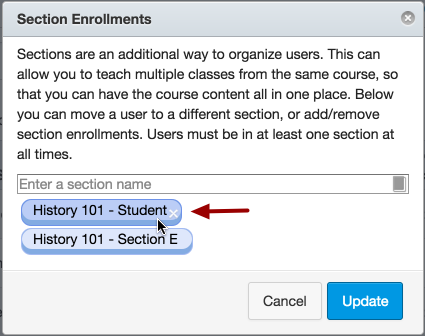 Remove Section Enrollment