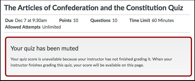 Unavailable Quiz Results