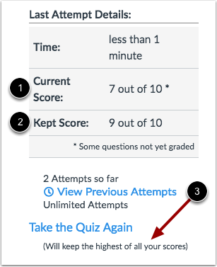 Submission Details with Repeated Quiz Attempts