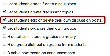 Allow Students to Edit or Delete Discussion Posts