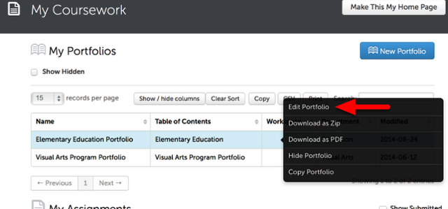 Step 2: Access the Portfolio