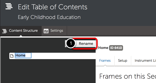 Step 1: Optionally Rename the 'Home' Section