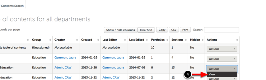 Step 2: View Table of Contents