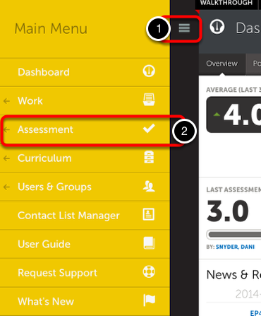 Step 1: Access Assessment Screen