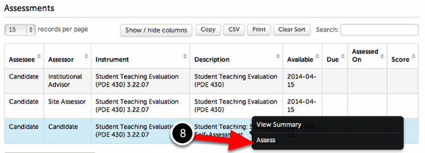 Step 3: Complete Assessments Associated with the Placement