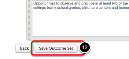 Step 6: Save Outcome Set