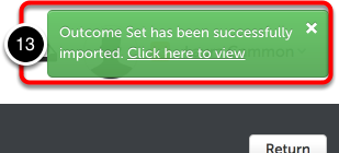 Step 7: Import Confirmation and View Outcomes Set