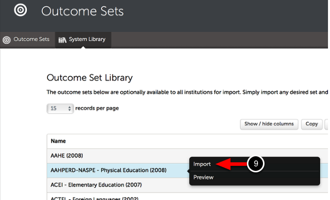 Step 4: Import the Outcome Set
