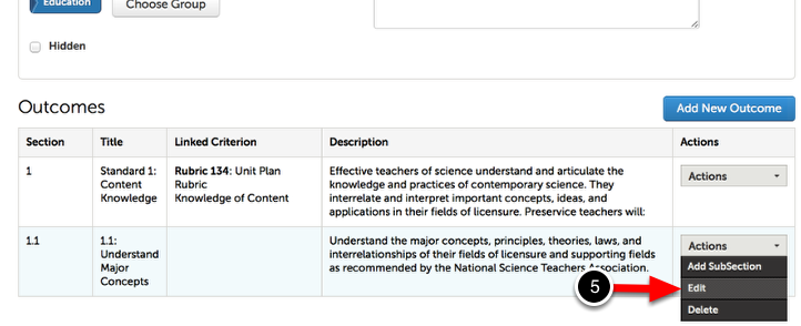 Step 3: Edit Outcome Section