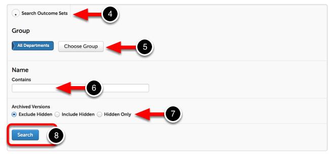 Step 2: Search Outcome Sets