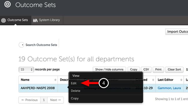 Step 2: Edit Outcome Set