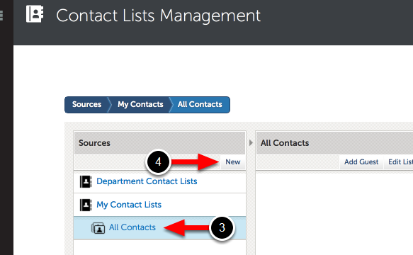 Step 2: Add New Contact List
