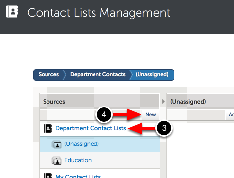 Step 2: Create New Department Contact List