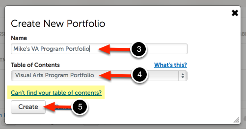 Step 3: Create Name and Choose Table of Contents