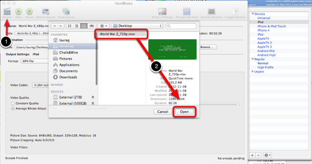 Step 2: Open Handbrake™ and Select your Video File