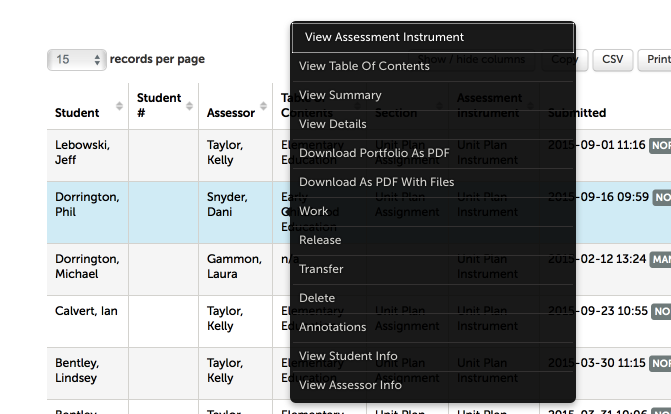 Step 3: View Assessments