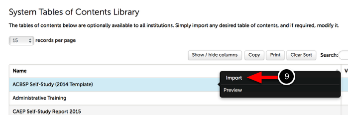Step 4: Import Table of Contents