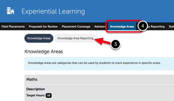 Step 2: Access Knowledge Area Reporting