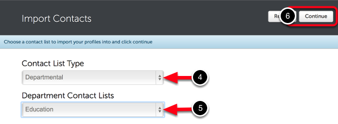 Step 2: Select Contact List for Guests