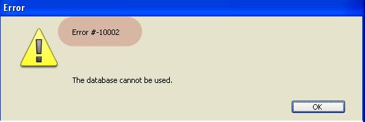 Error # -10002