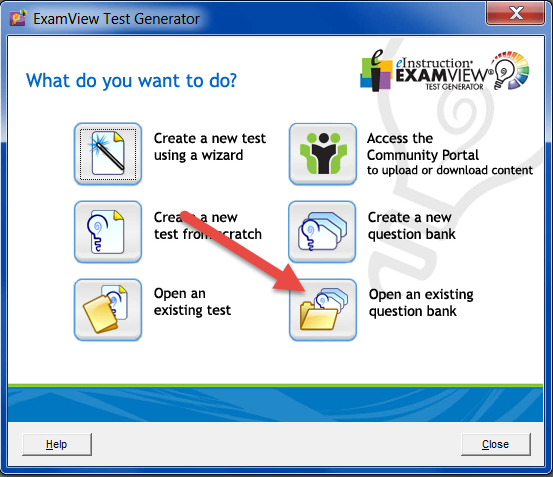 Click on Open an existing question bank.
