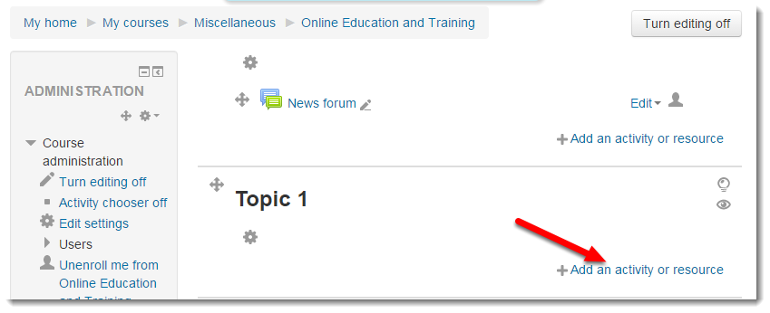 Click on Add activity or resource.