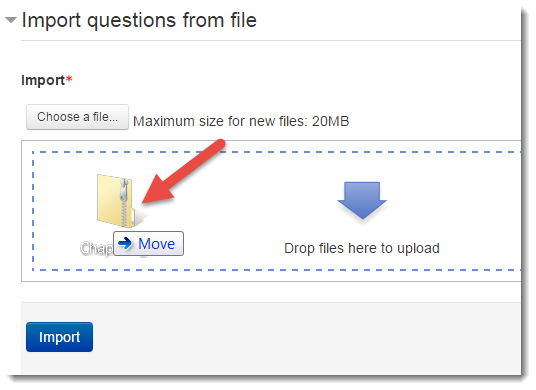 "Drag the ZIP file to the ""Drop files here to upload"" box"