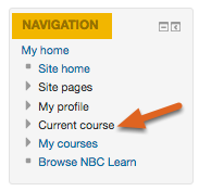 Click on Current course in the Navigation block.