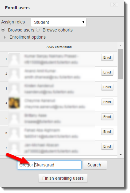 Type the student's first and last name in the search field.