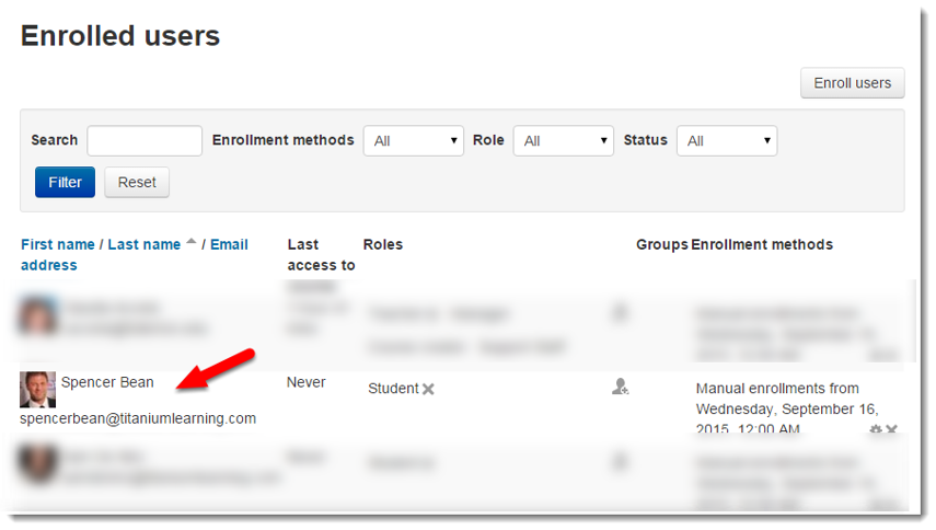 Locate the student in the list of Enrolled users.