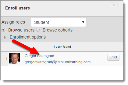 Determine that the search results in the correct user you want to add.