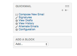 The Quickmail Block appears on your course page.
