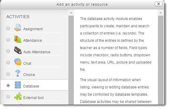 Select Database.