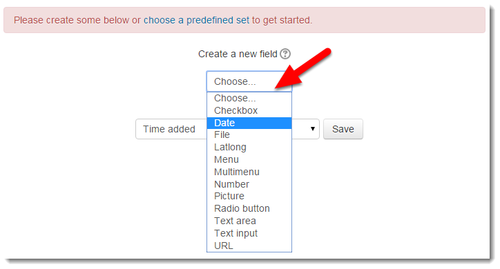 Select the type of field you want to add.