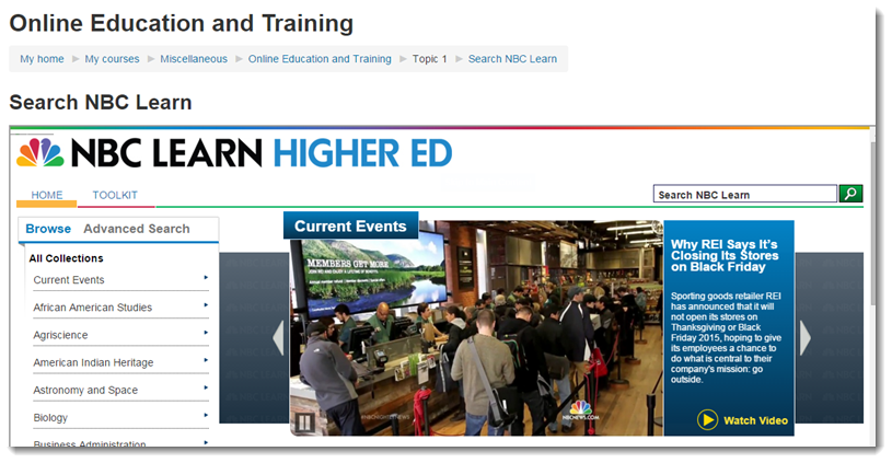 Student view of NBC Learn.