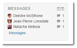Locate the Messages block on your course main page.