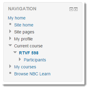 In the Navigation block, expand the Current course option.