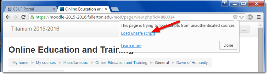 Click on Load unsafe scripts.