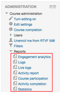 The seven types of reports are displayed.
