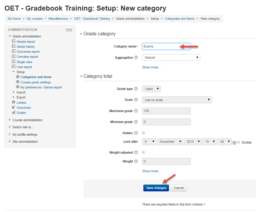 Provide a name for the category and click Save changes at the bottom of page.