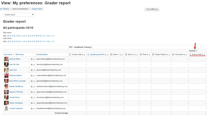The new Category appears on the right of the Grader report as a folder with a sub-total column.