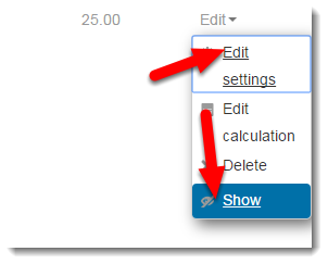 To show this Grade item to students, click on Edit > Show.