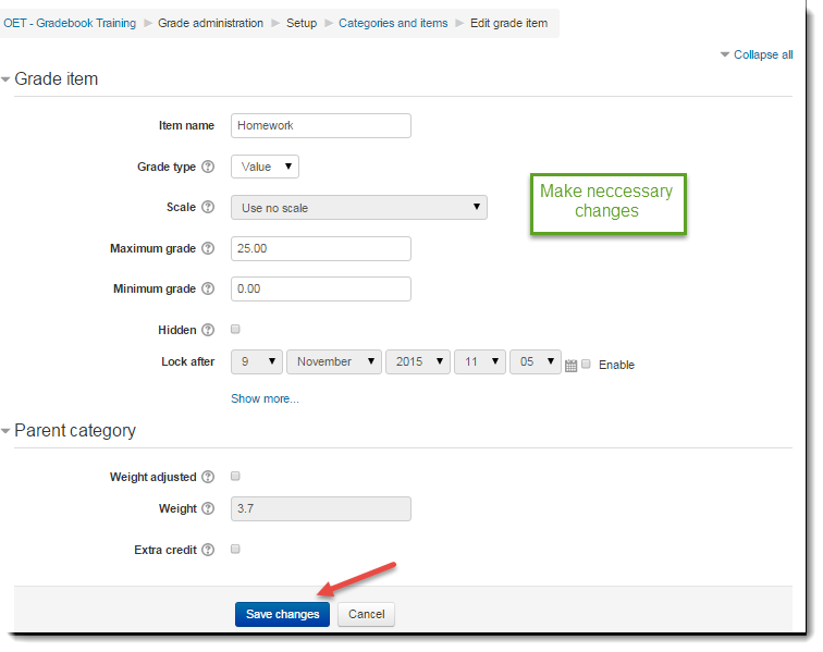 Make the necessary changes on the Edit grade item page.
