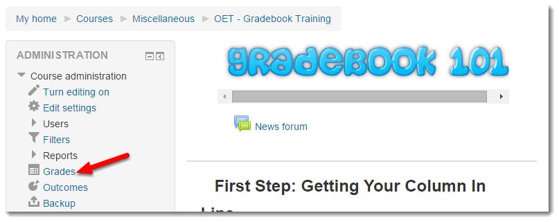 Click on Grades.