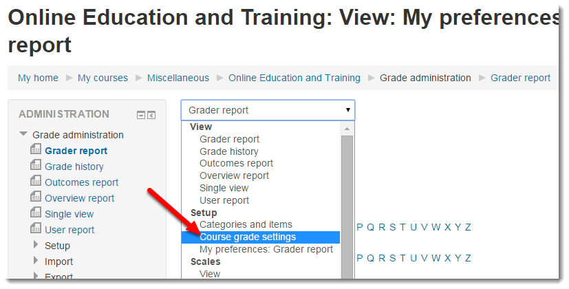 Select Course grade settings.