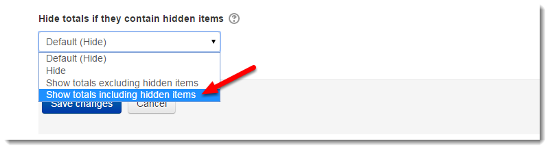 Select Show totals including hidden items.