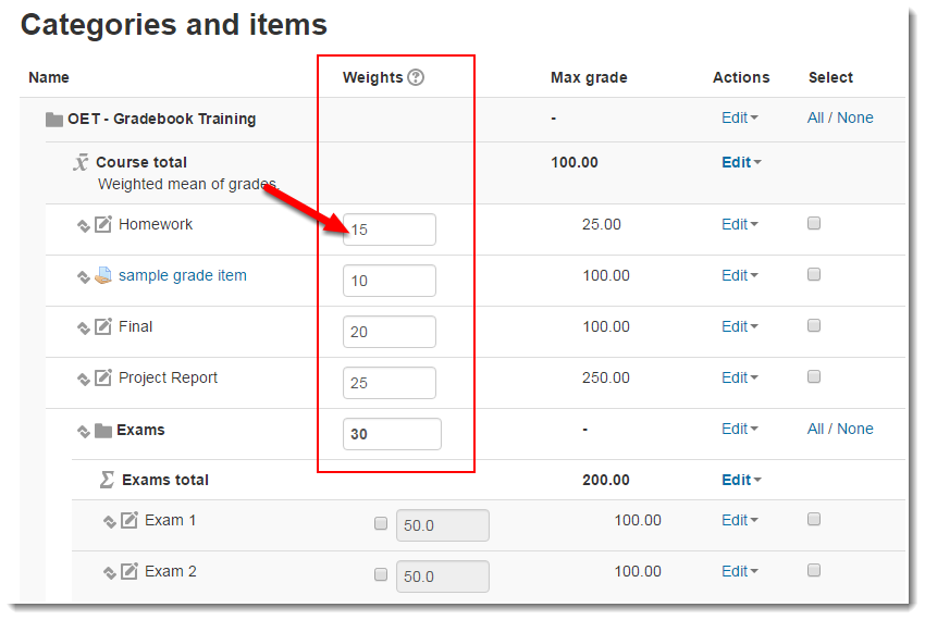 Assign weight values to each Grade item and Category.